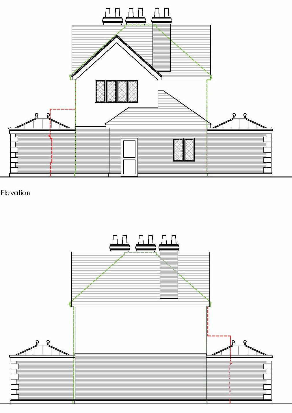 proposed side elevation of extended house within green belt christopherhunt high wycombe
